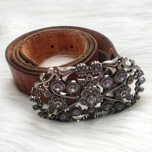 Fossil Genuine Leather Jeweled Buckle Belt